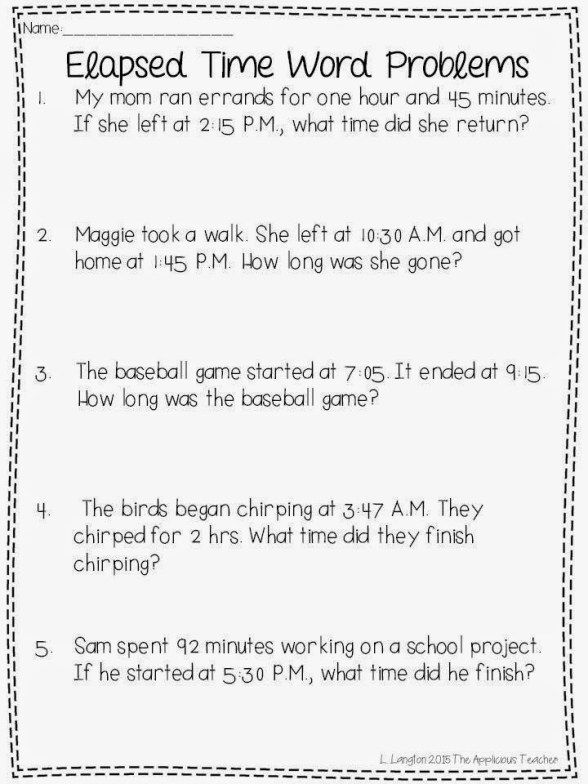 Elapsed Time Activities And A Free Download Time Worksheets Fourth Grade Math Second Grade Math