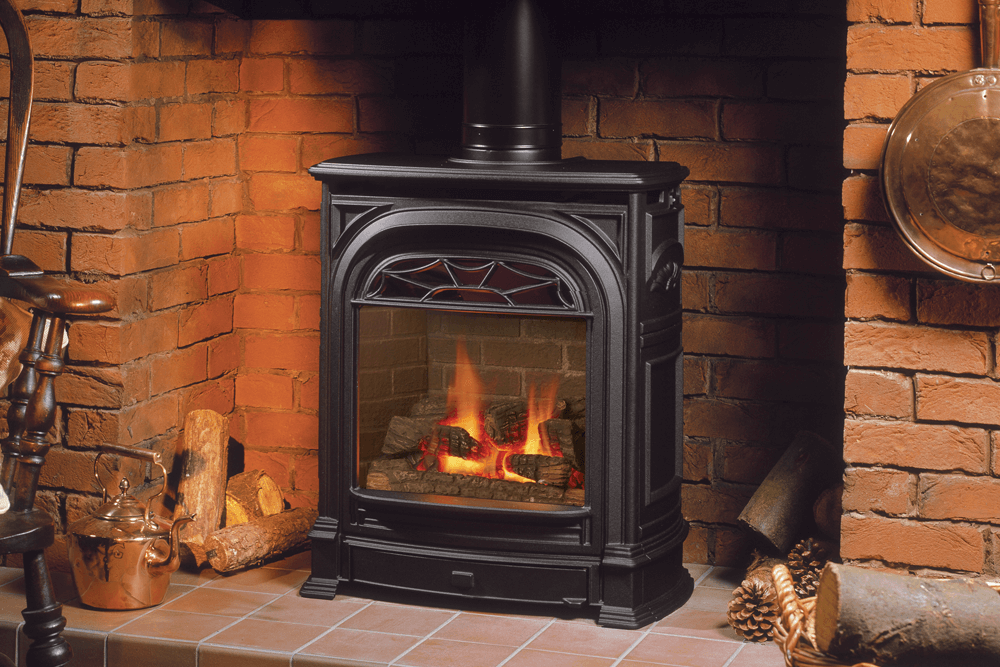 Portrait President Freestanding Fireplace Shown With Logs Gas Stove Fireplace Corner Gas Fireplace Gas Stove