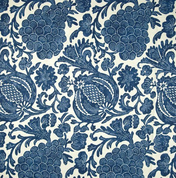 Indigo Blue Floral Curtain Fabric Modern Floral Upholstery Fabric