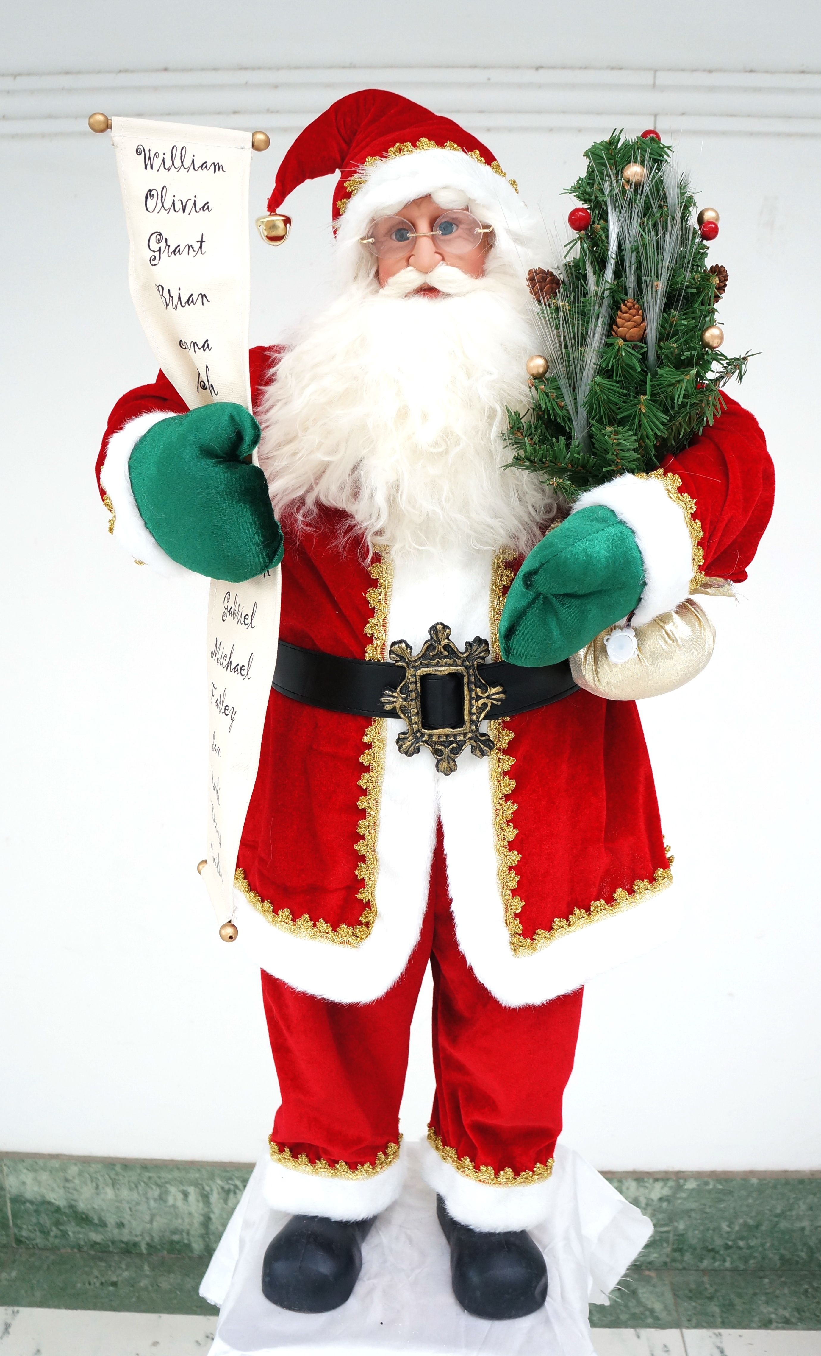 Flying santa fibre optic christmas decoration - 3ft Santa Claus With Names List And Fibre Optic Tree Http Www