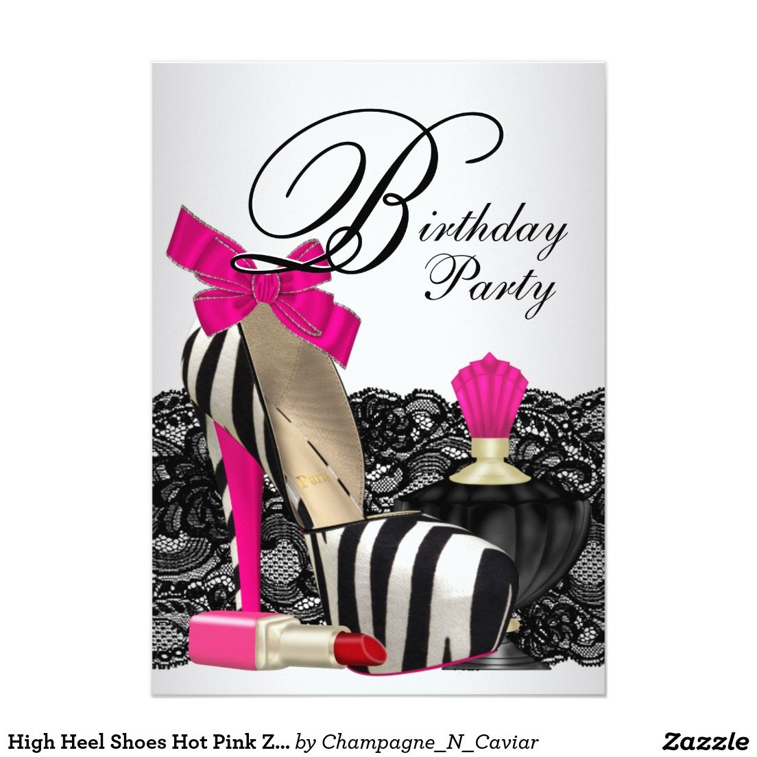 High Heel Shoes Hot Pink Zebra Party 5x7 Paper Invitation Card ...