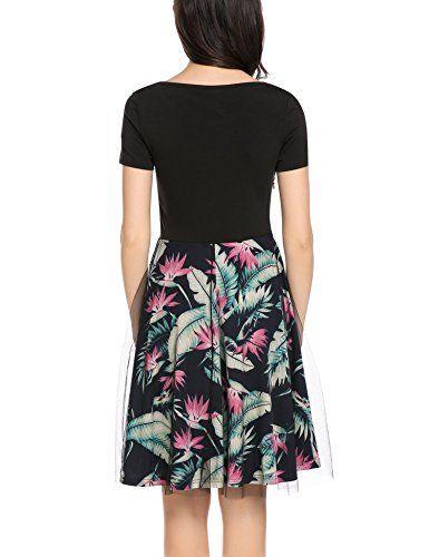 ACEVOG Damen Sommerkleid knielang mit Kurzarm Cocktailkleid Elegant ...