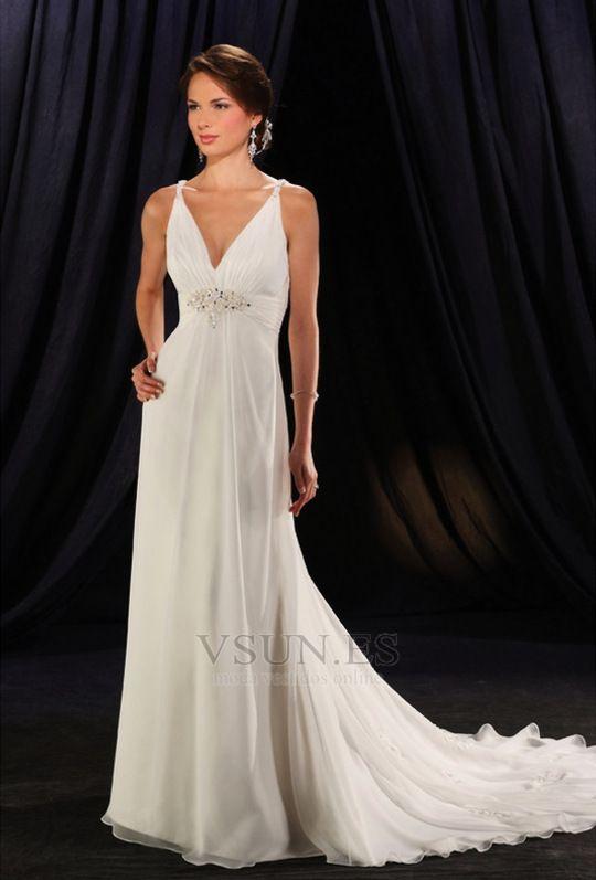 Vestido de novia Blusa plisada Gasa Blanco Corte-A Baja escote en V ...