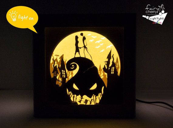 Nightmare before Christmas shadow box night light от FairyCherry - Nightmare Before Christmas Shadow Box Night Light, Unique Special