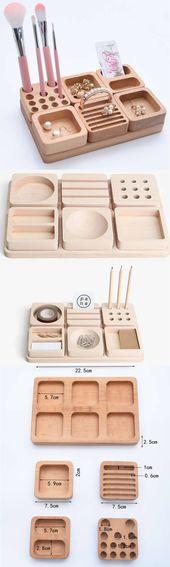 6 Stück Holz Kosmetik Make-up und Schmuck Aufbewahrungskoffer Display Sets Veranstalter …