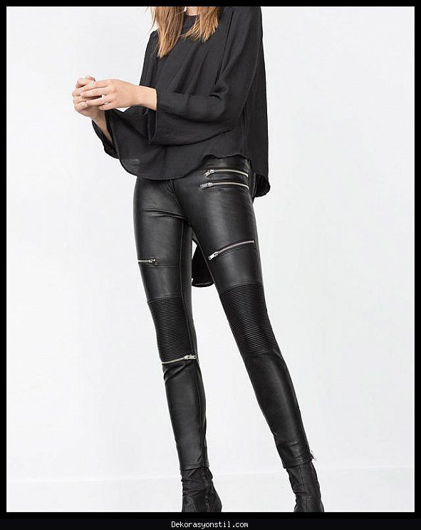 Nice Bayan Deri Pantolon Modelleri 2016 Black Leather Pants Leather Trousers Outfit Trousers Women