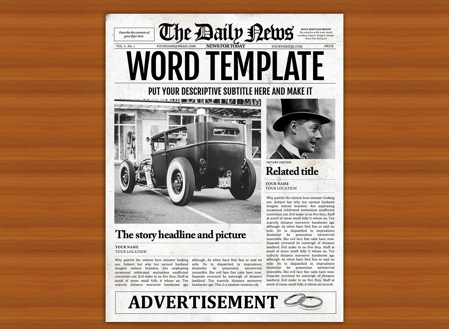 Old Style Word Newspaper Template By Newspaper Templates On