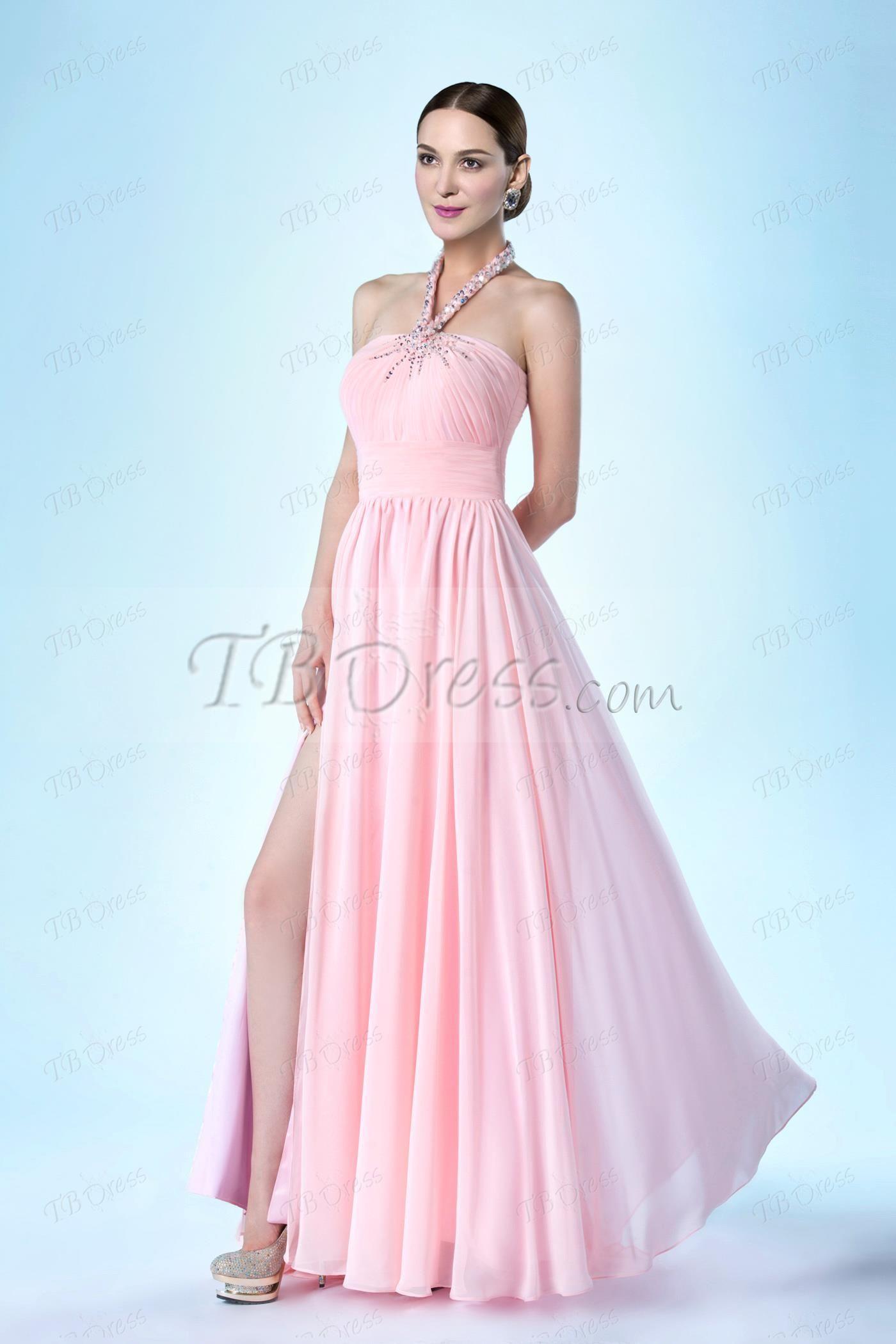Elegant aline splitfront halter ruched evening dress prom