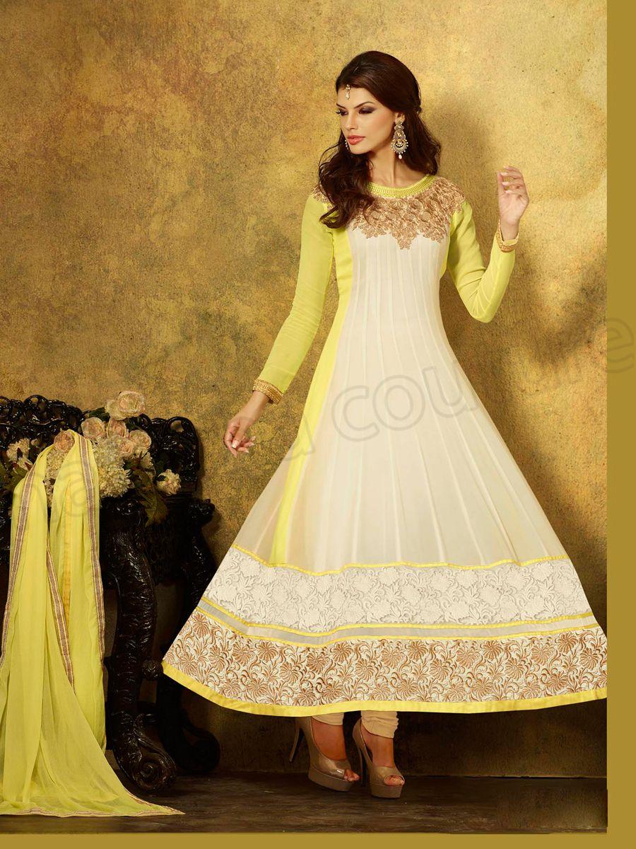 Designer anarkali off white u yellow indian wear desi fashion