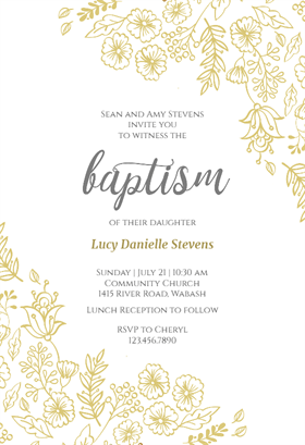 Elegant Flowers Printable Baptism Christening Invitation