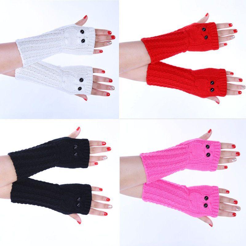 Winter Women Men Soft Fingerless Gloves Mittens Knitted Glove Hand ...