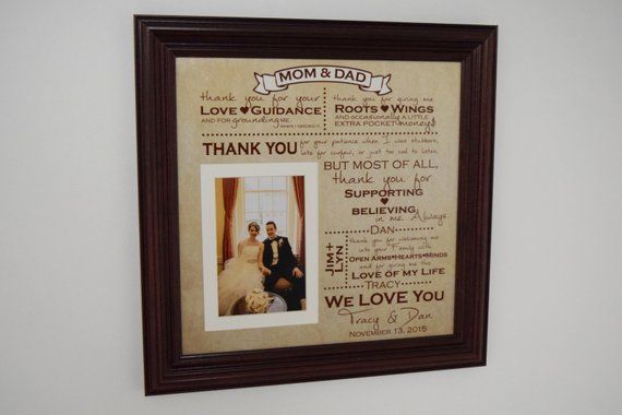 Thank You Wedding Parents Gifts Parents Gift Grooms Parents Bride