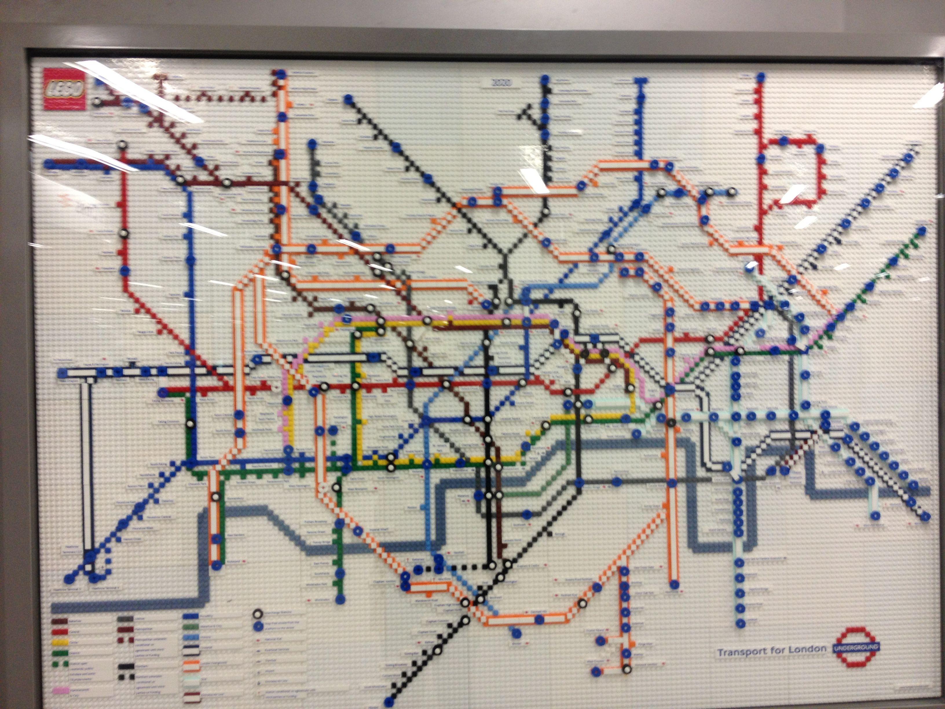 Lego tube map at kings cross Lego