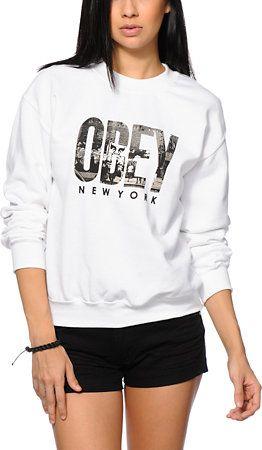Obey OG NYC White Crew Neck Sweatshirt | zumiez | Crew ...