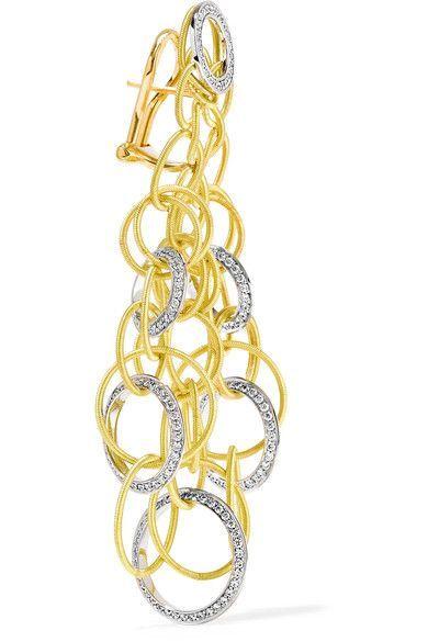 Buccellati Hawaii 18-karat Yellow And White Gold Diamond Earrings zcM759