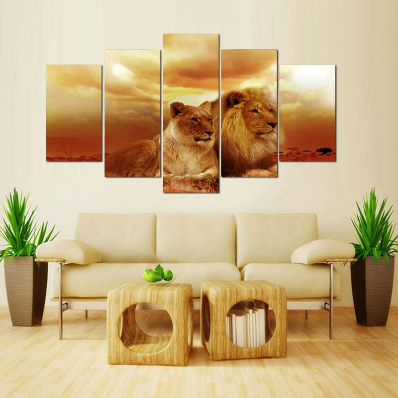 Animal Lion and Lioness Resting Canvas Art Cheap Wall Print Home Interior