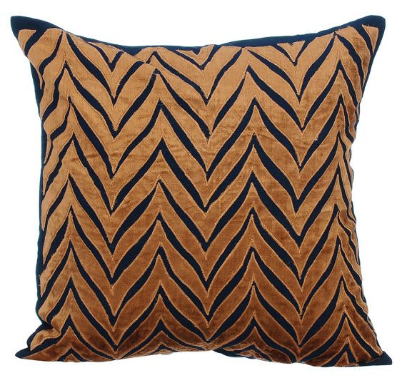 16 X16 Handmade Navy Blue Couch Cushion Cover Art Silk Throw Cushion Couch Pillow Cover Chevron Pattern Modern Style Arty Chevron With Images Navy Blue Decorative Pillows Velvet Decorative Pillow Silk