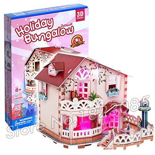 Puzzle 3d avec led vacances bungalow maison de poupées 114 pieces