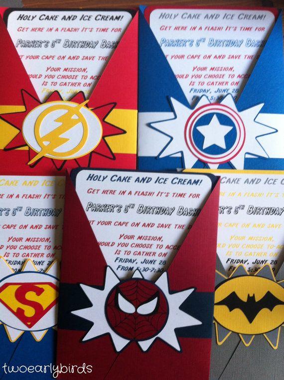 Invitaciones De Cumpleaños De Superhéroes Por Twoearlybirds
