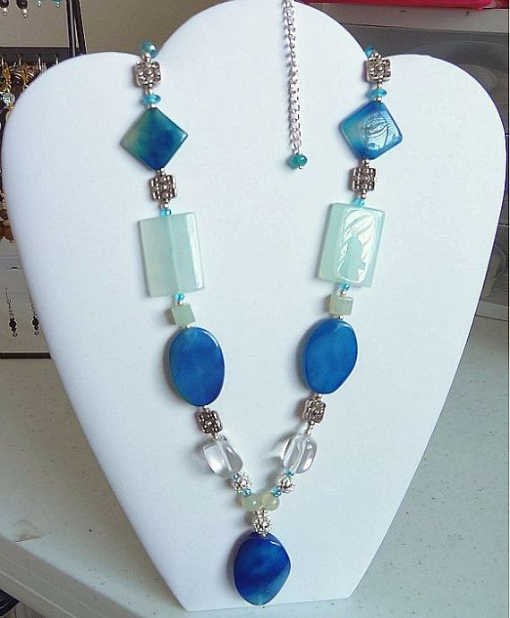 Venetian Blue and Pale Green Beaded Necklace. See it on http://DeeDeeDzyn.etsy.com