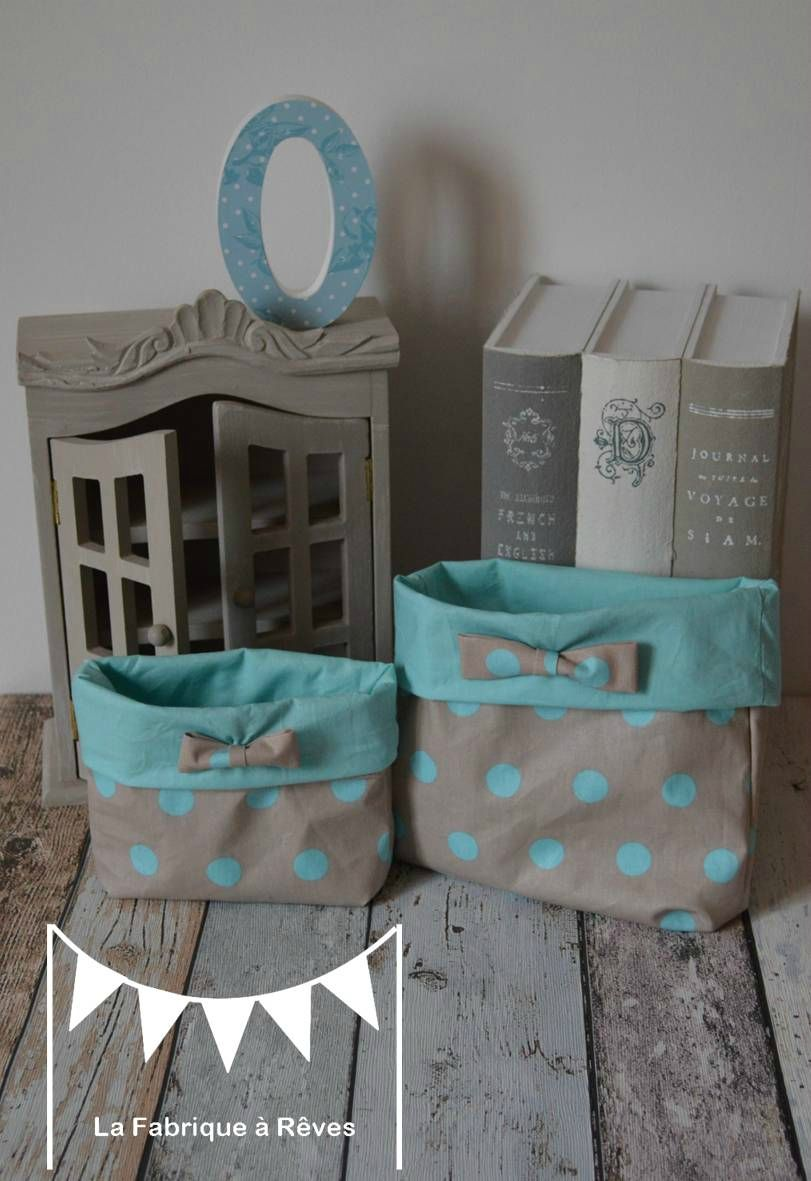 Pochon Tissus Lot 2 Pois Noeud Taupe Turquoise Chocolat Decoration