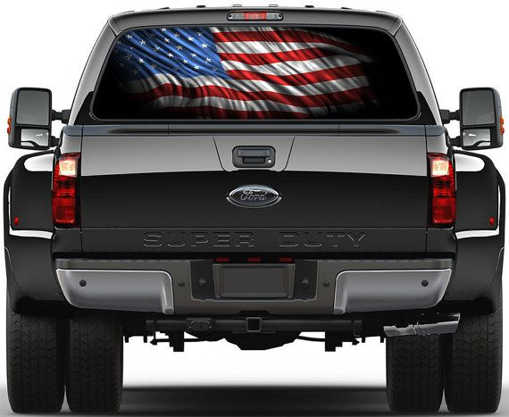American Flag version 3 Rear Window Graphic Decal Truck SUV