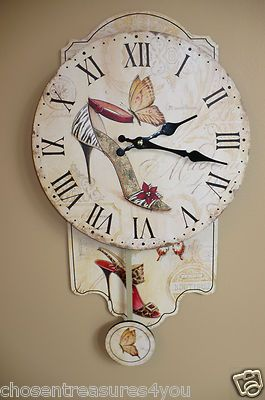 f9795a71ae05a 18 in Pendulum Clock Shoe Collector Diva Chic Lady High Heels Wall Decor  New | eBay
