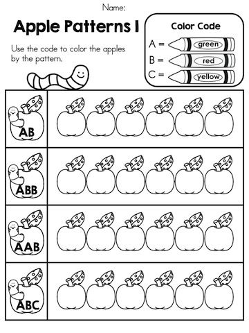 Apple Patterns Practise Patterning By Coloring Apples Code Part Of The Time Theme Worksheets Packet