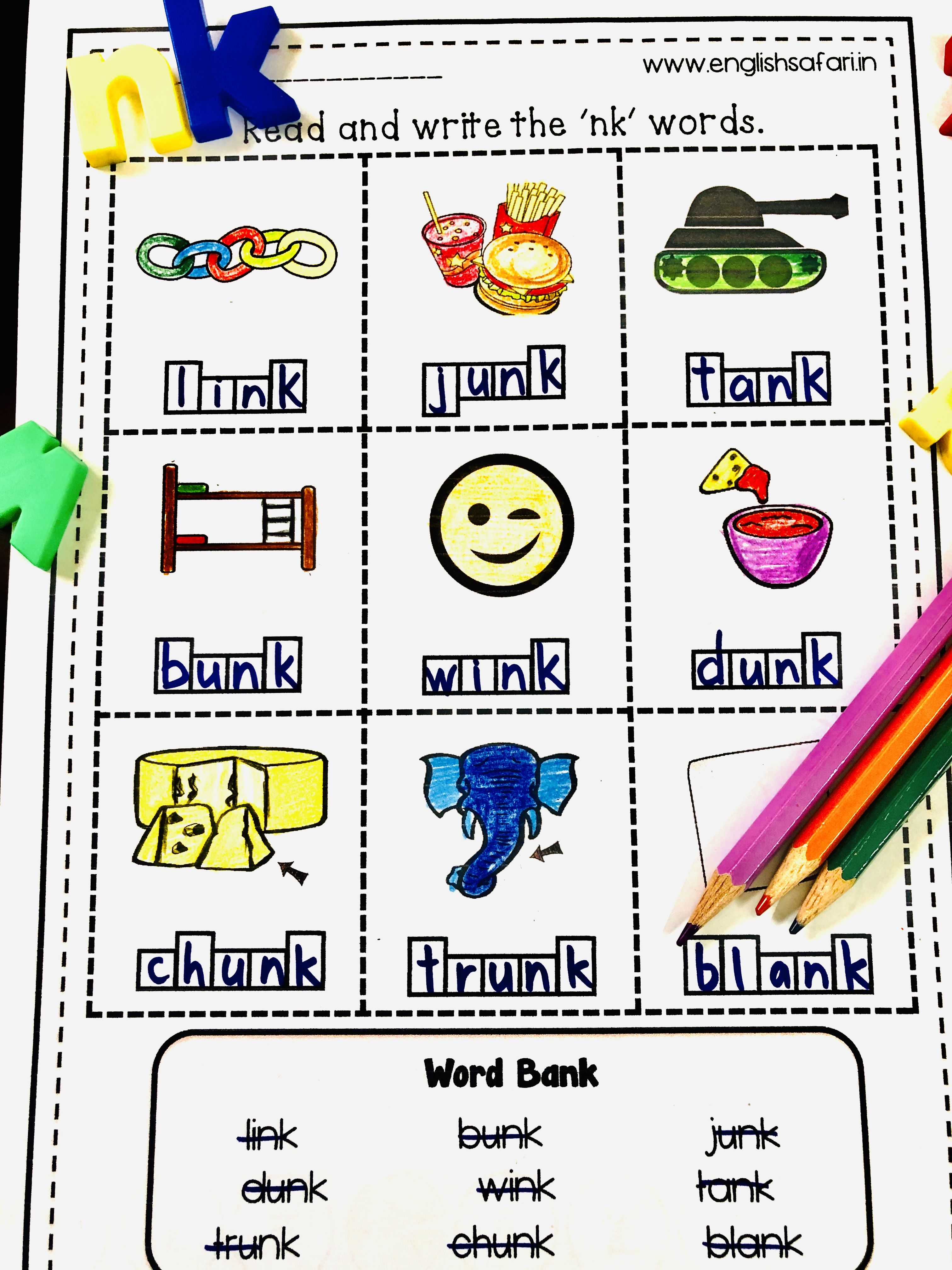 Nk Blend Words Worksheets Free Englishsafari