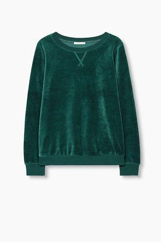 b65887218fd4 WANT  Grünes Samt Sweatshirt von Esprit   girlish sweatshirts in ...