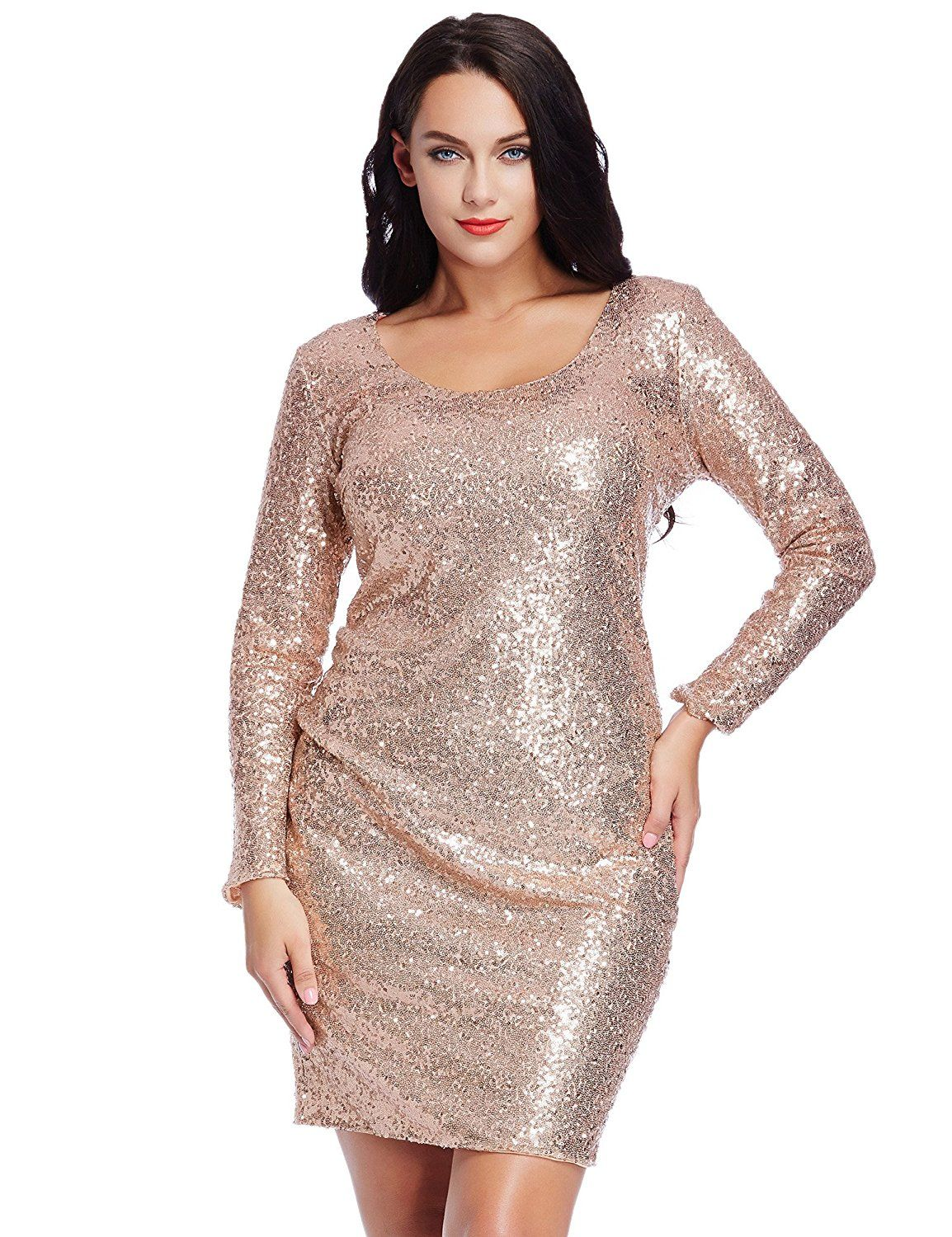 784f6b49 Grapent Women's Plus Size Sequin Cocktail Sheath Short Dress Bodycon Long  Sleeve at Amazon Women's Clothing store: