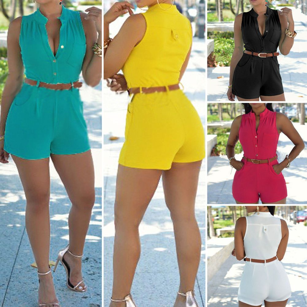 Sexy Womens sleeveless V neck Bandage Bodycon Jumpsuit Romper Trousers Clubwear #Unbranded #Jumpsuit