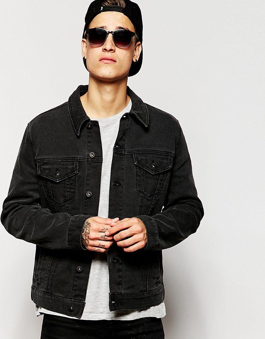 5f8b16b7417 ASOS Slim Fit Denim Jacket In Black | Christmas List | Black denim ...