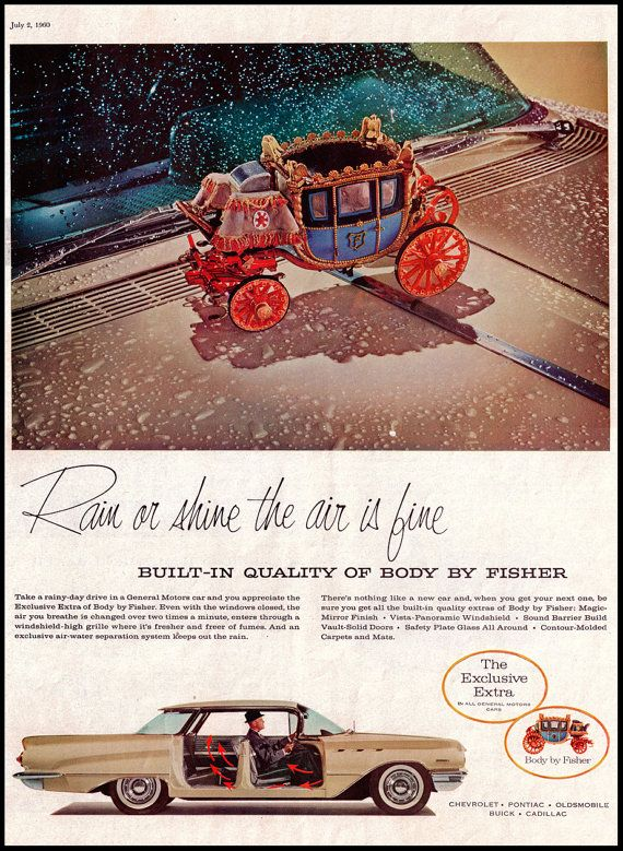 1960 Vintage General Motors Ad With Cinderella Carriage Vintage