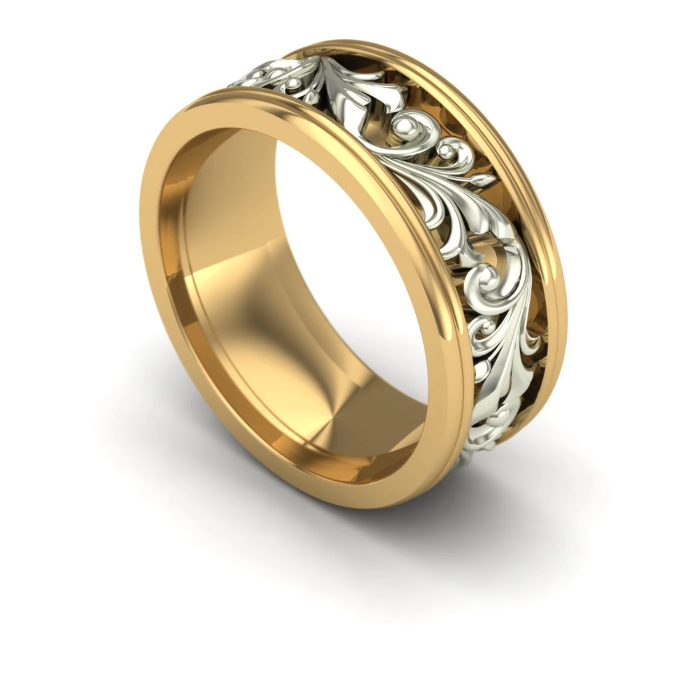 Ladies Wide Two Tone Scroll Wedding Band in 14k Yellow and
