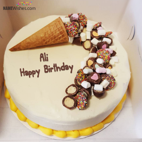 The Name Ali Is Generated On Write Name On Ice Cream Cake And Wish