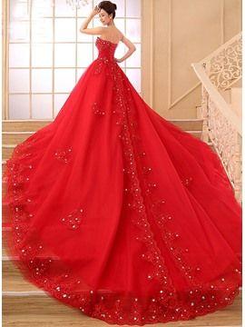 Strapless Beading Appliques Wedding Dress
