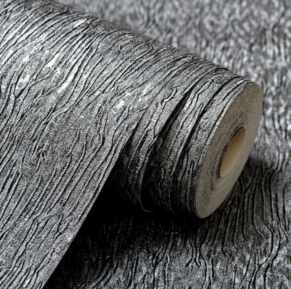 Wallpaper silver metallic faux textile Textured Plain Modern wall coverings roll