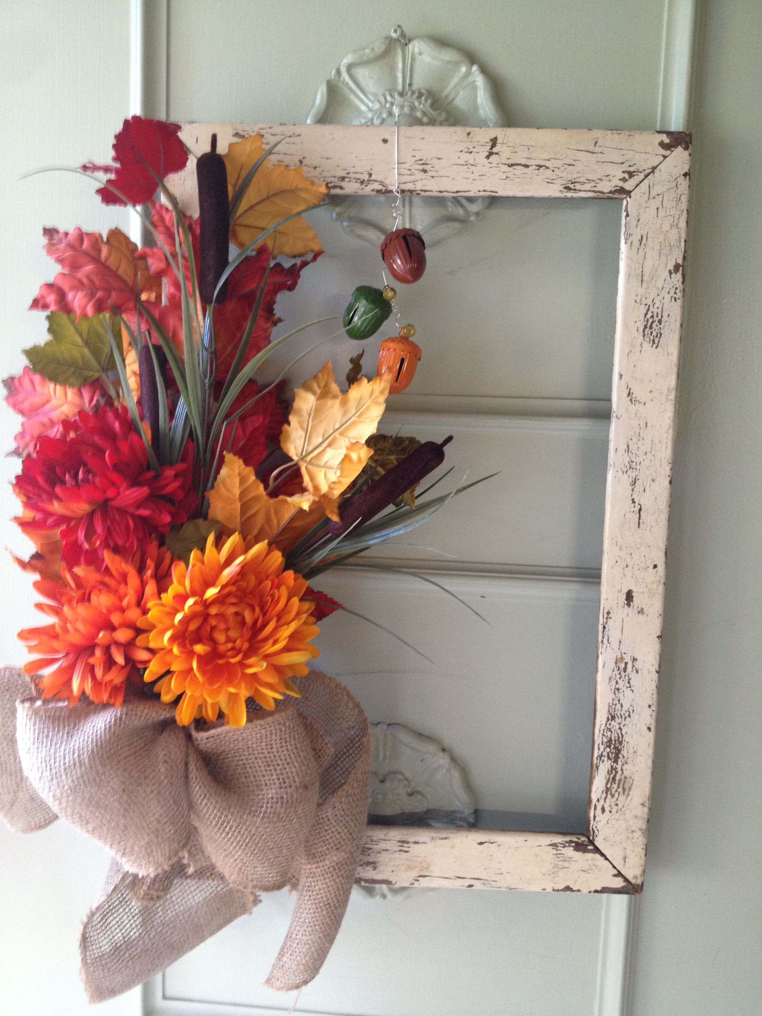 Rustic frame wreath!!! Picture frame wreath, Fall
