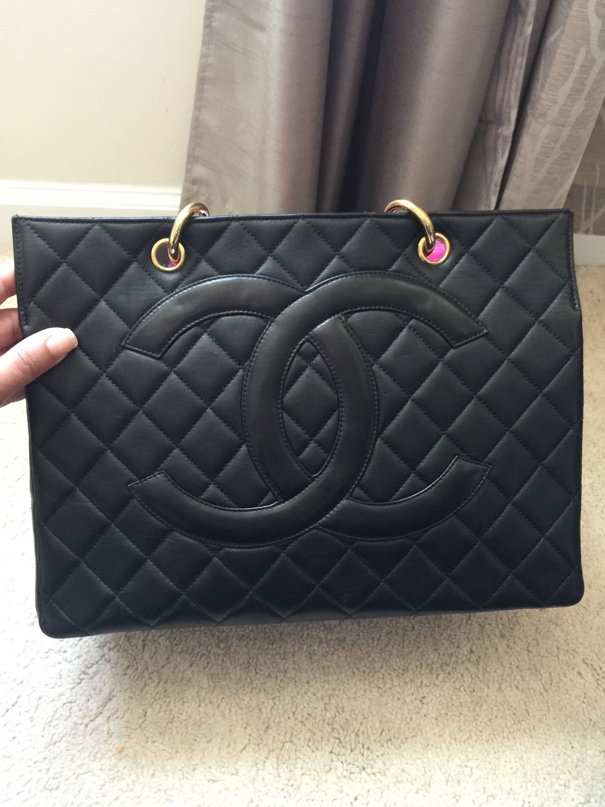 a89161a8434a Authentic Vintage Chanel Black Lambskin Grand Shopper Tote GST With GHW  Chanel Handbags