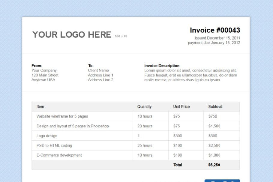 Simple Html Invoice Template Invoice Template Invoice Design Simple Html
