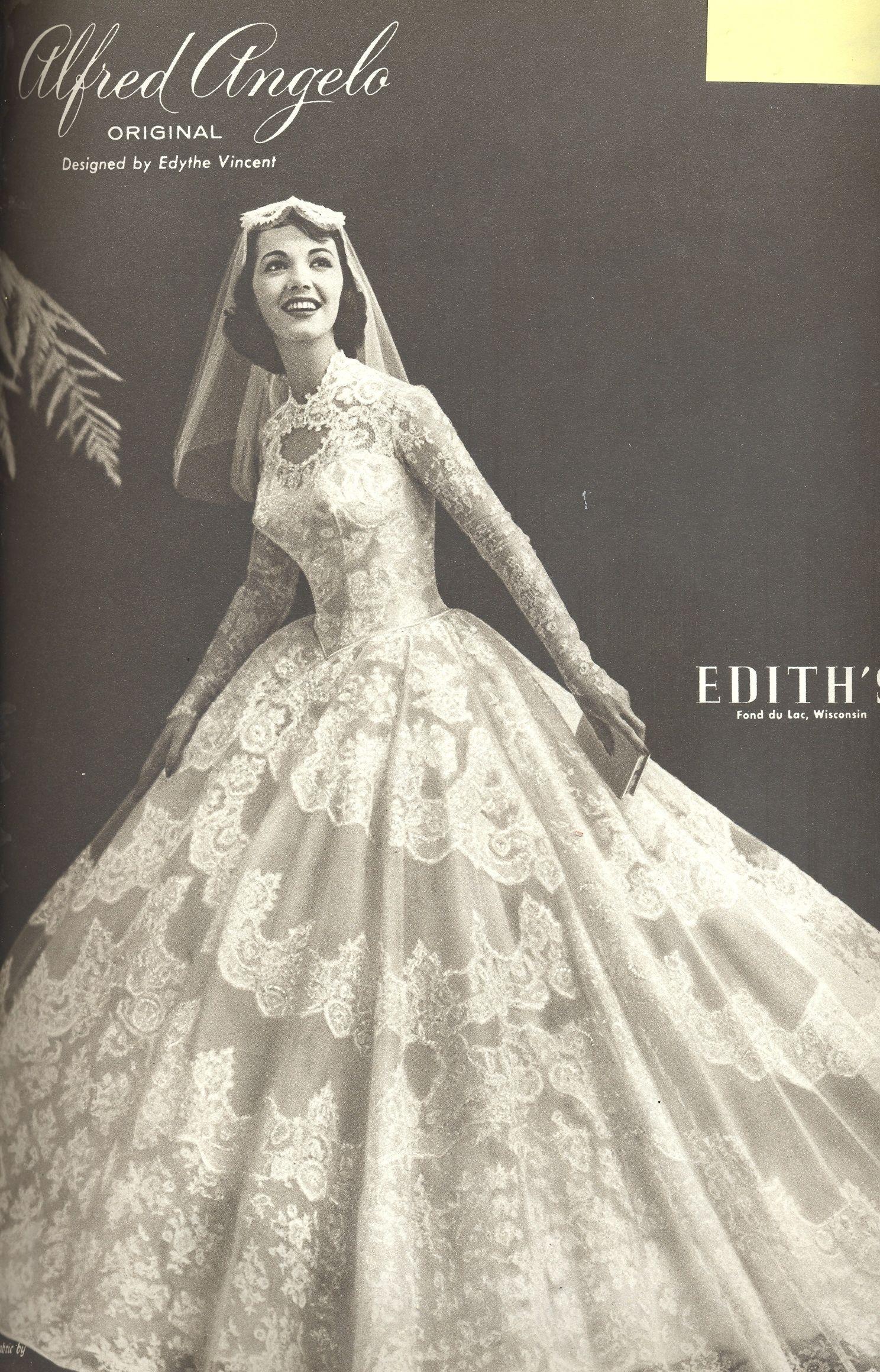 An Alfred Angelo Original Designed By Edythe Vincent Vintage Designer Fashion Bride Ad From Spring1958