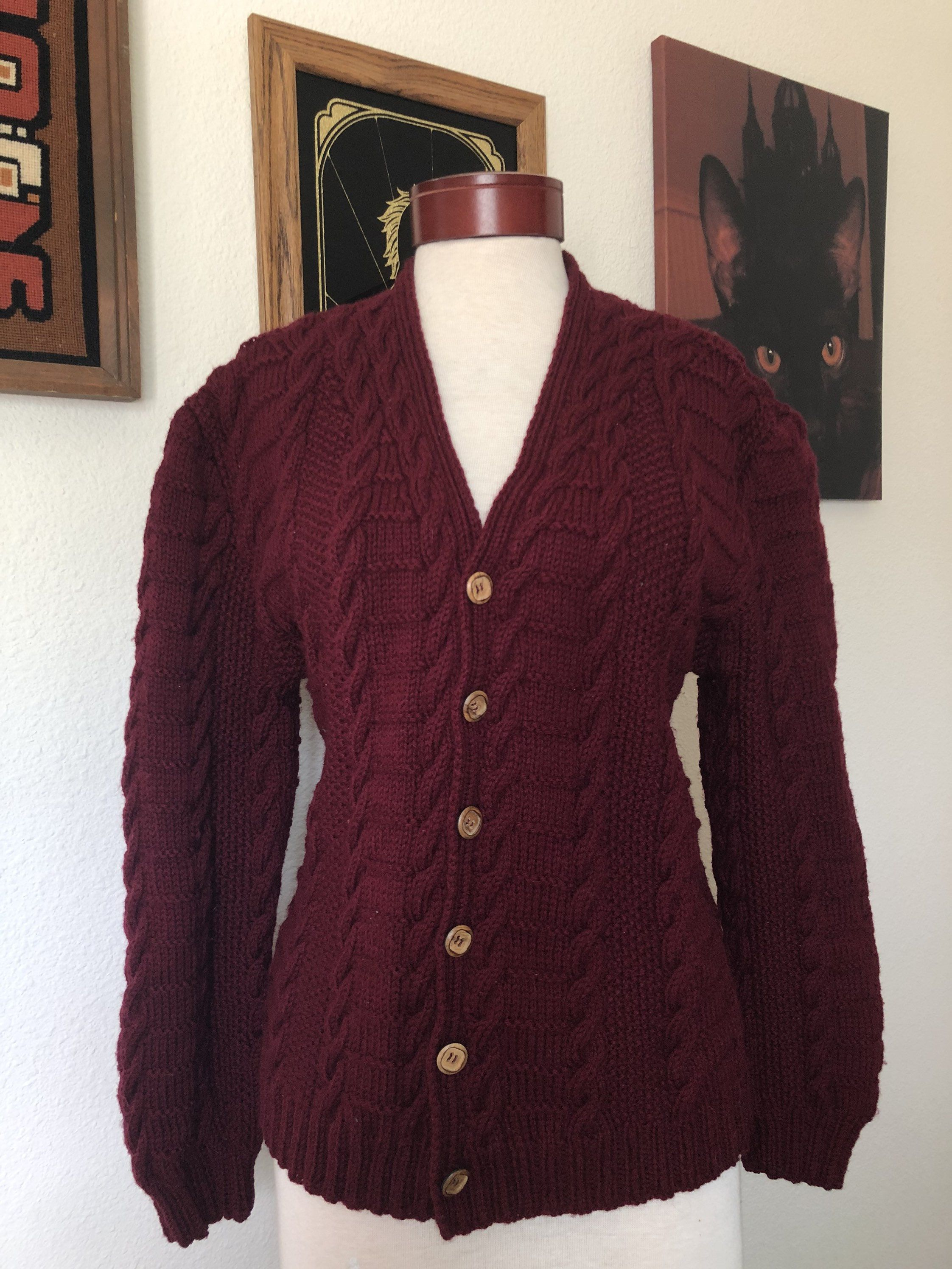 Button Up Cardigan Cardigan Sweater Vintage Maroon Cardigan 80s Vintage Burgundy Cardigan Vintage Burgundy Wine Cardigan
