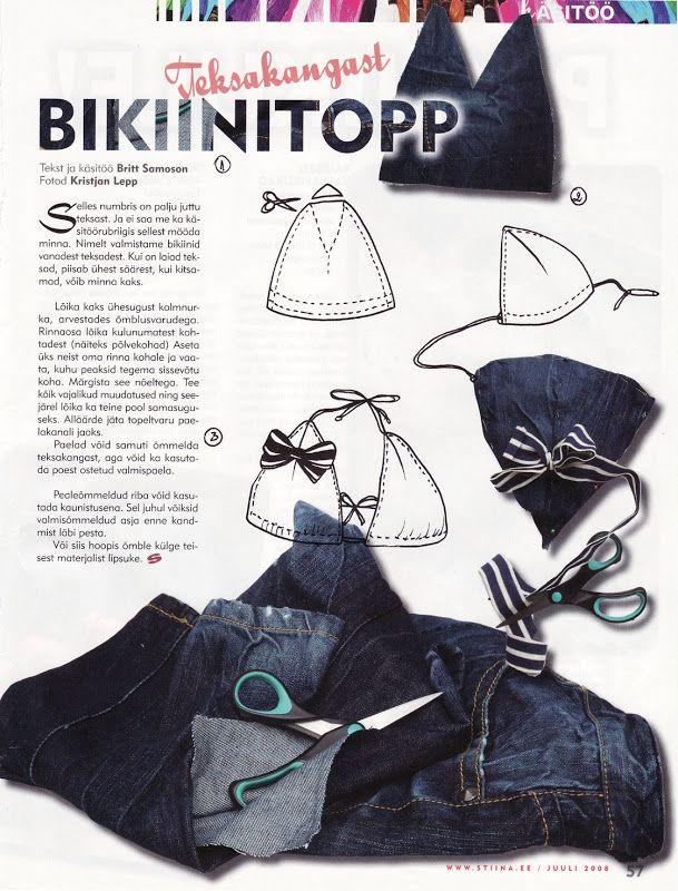 Style hurricane: DIY bikini top from jeans | Lana, telas, costura ...