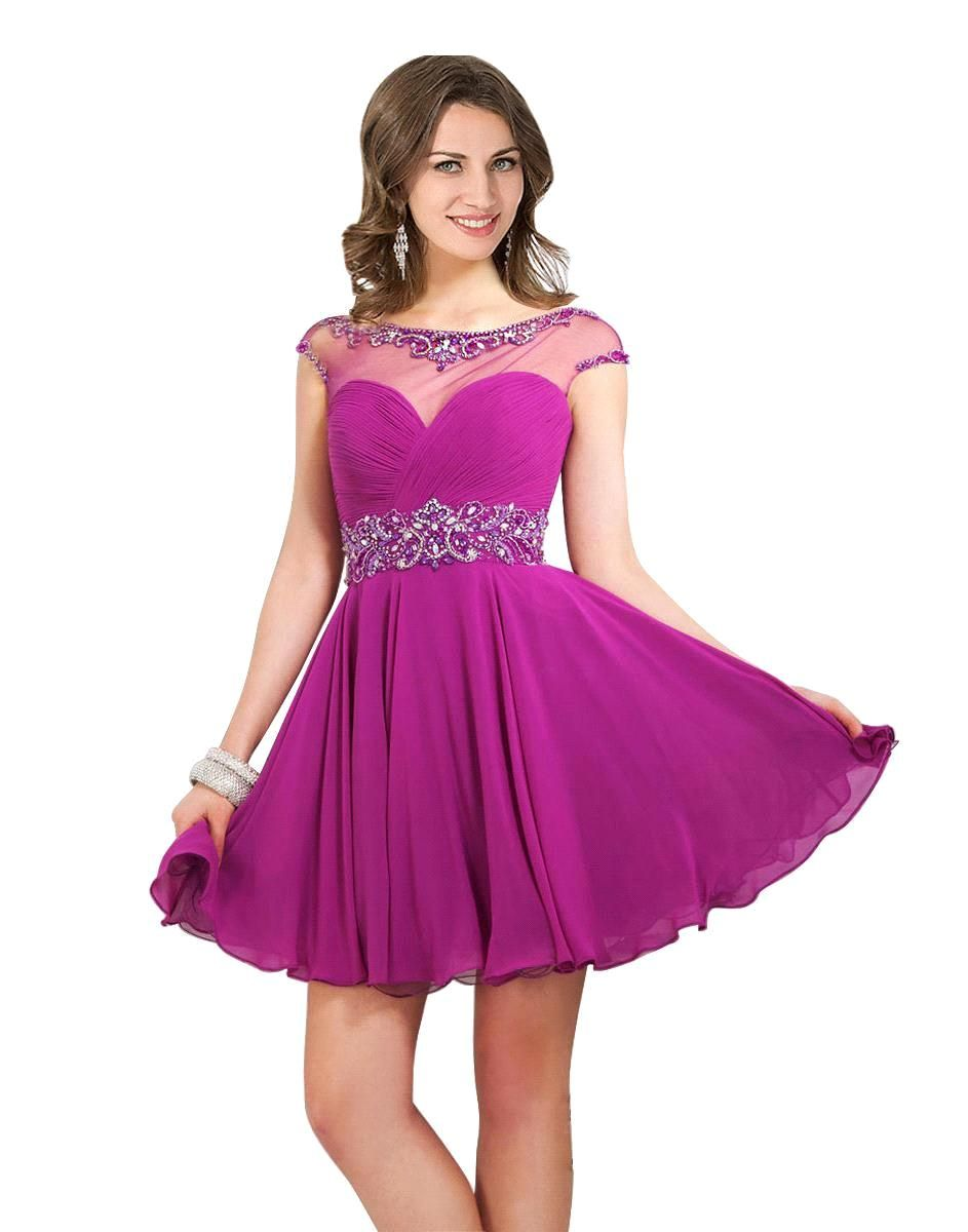 Lovely Cap Sleeve Beaded Royal Blue Purple Short Homecoming Dresses ...