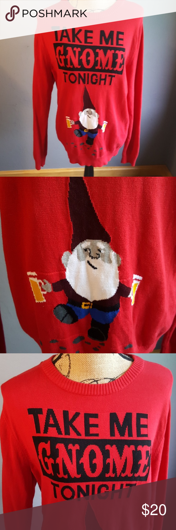 Take Me Gnome Tonight Red Sweater Red Sweaters Scoop Neck And