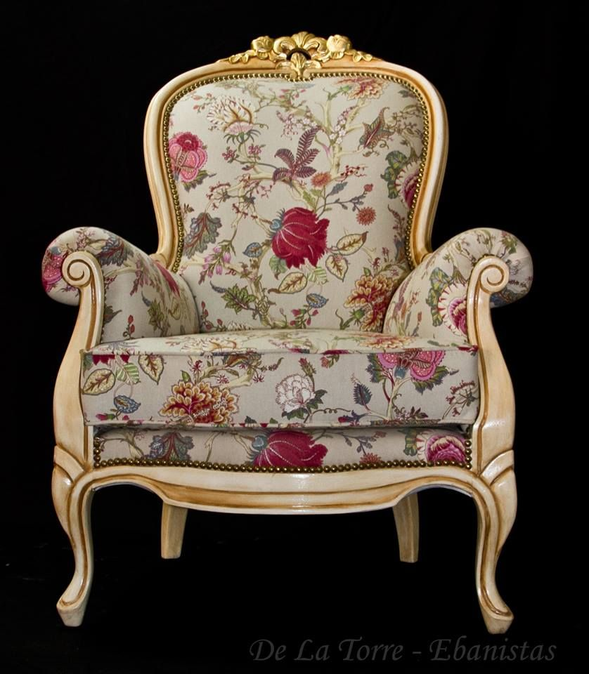 Sill N Colonial Reina Ana Patinado Dorado A La Hoja En La Parte  # Muebles Dorados
