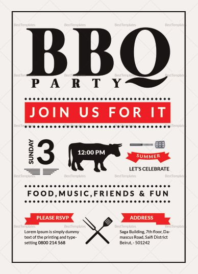 Barbecue Party Invitation Template Pinterest Commercial printing