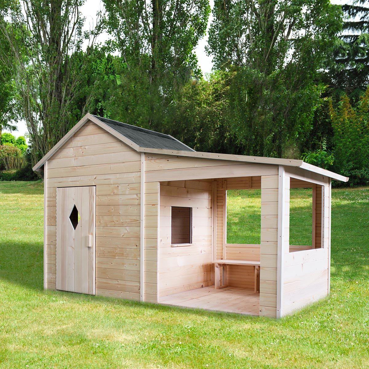 Grande Cabane De Jardin Pas Cher cabane pour enfant en bois avec préau et banc - amaryllis