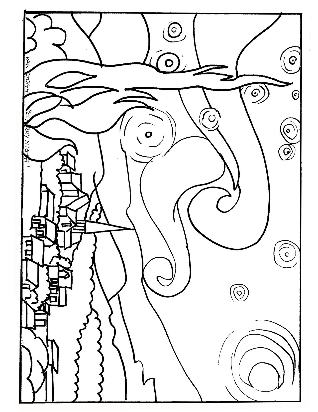 Starry Night coloring page | KIDS - Printables | Pinterest